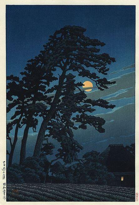 Hasui Kawase 1931 - Pleine lune à Magome