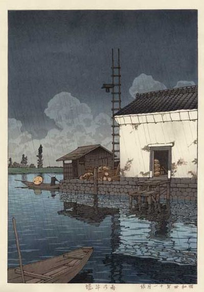 Hasui Kawase 1929 - Pluie à Ushibori