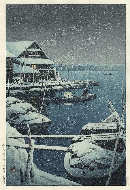 Hasui Kawase 1931 -Tempête de neige à Mukojima