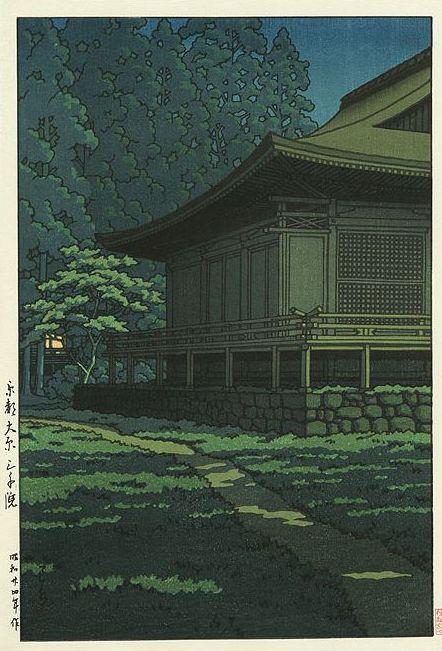 Hasui Kawase 1949 - Clair de lune au sanctuaire Sanzenin à Kyoto