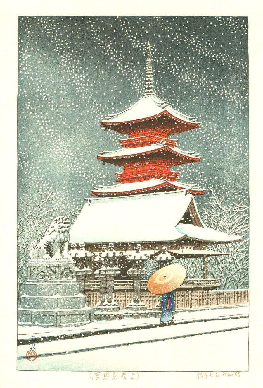 Hasui KAWASE 1929 - Neige au sanctuaire de Ueno Toshogu - Editeurs Kawaguchi et Sakai puis Shobisha.
