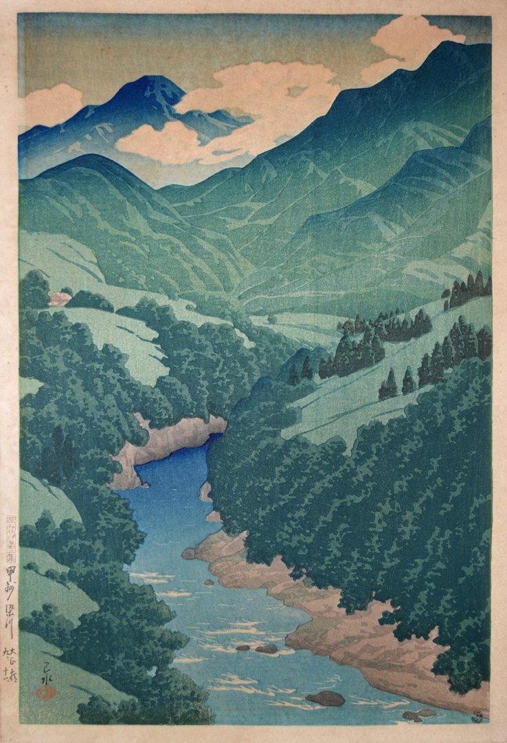 Hasui Kawase Hasui Kawase -1921 - Somegawa in Koshu - Estampe japonaise Shin hanga
