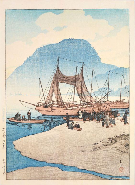 Hasui Kawase 1922 - Matin à Beppu -estampe japonaise Shin hanga