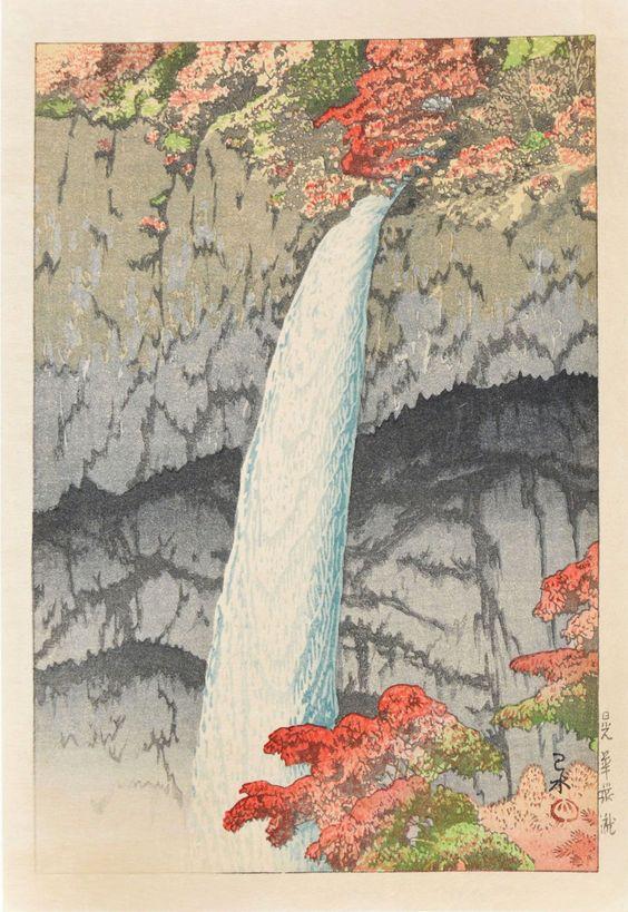 Hasui Kawase 1927 - Chute de Kegon à Nikko