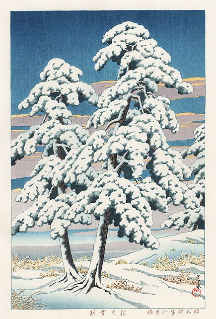 Hasui Kawase 1929 - Pin après la neige