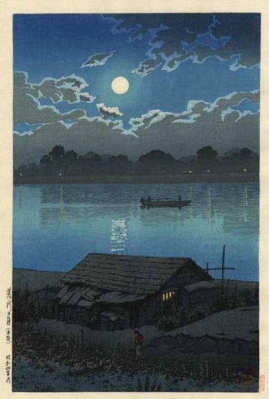 Hasui Kawase 1929 - Pleine lune sur la rivière Arakawa