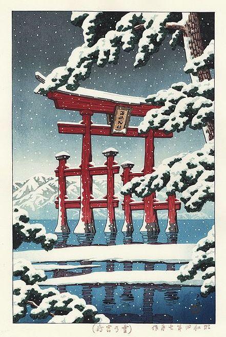 Hasui Kawase 1929 - Neige à Miyajima