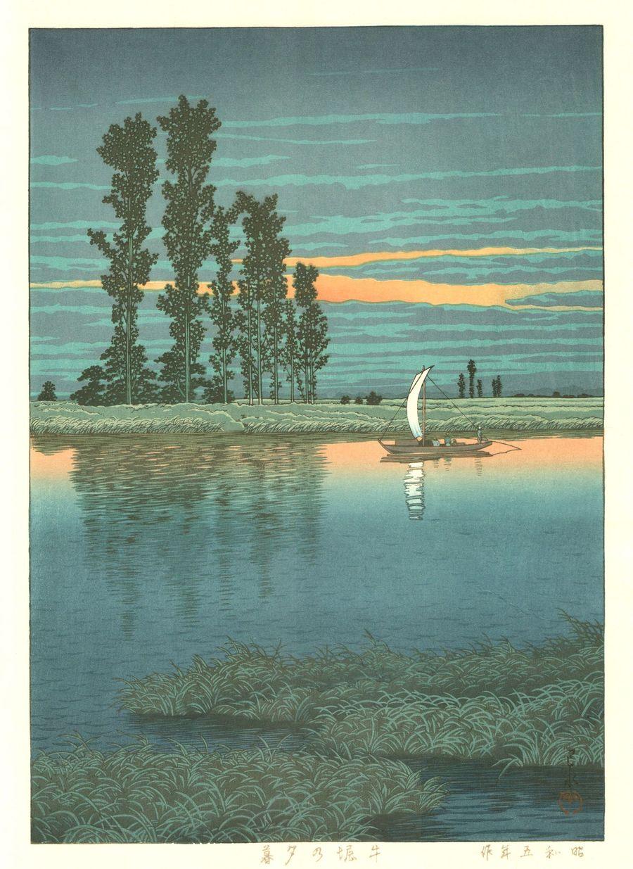 Hasui Kawase 1930 - Crepuscule a Ushibori - Editeurs Kawaguchi et Sakai puis Shobisha