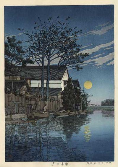 Hasui Kawase 1930 - Itako le soir