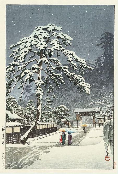 Hasui Kawase 1931 - Temple Hommonji sous la neige