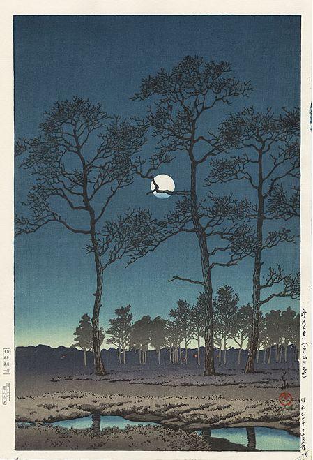 Hasui Kawase 1931 -Lune d'hiver sur la plaine de Toyama - Editeur Doi