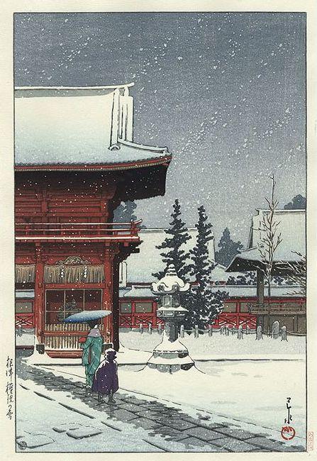 Hasui Kawase 1931 - Sanctuaire Nezu Gongen sous la neige