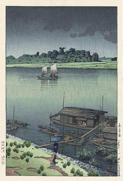 Hasui Kawase 1932 - Pluie du début de l'été à Arakawa (rivière Ara) - Editeur Doi