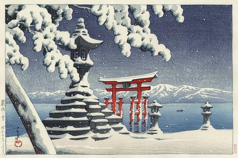 Hasui Kawase 1932 - Neige à Itsukushima