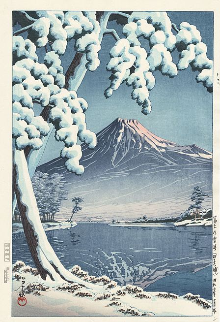 Hasui Kawase 1932 - Éclaircie après une chute de neige sur le Mont Fuji (Plage de Tagonura) Editeur Doi -estampe japonaise shin hanga