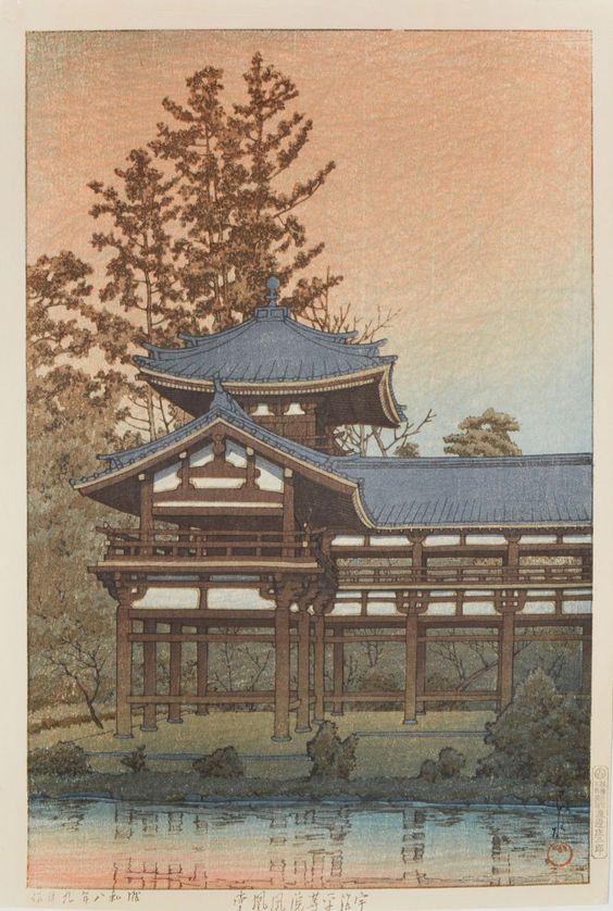 Hasui Kawase 1933 - Phoenix Hall temple de Byodo Uji Watanabe Tirage vintage Sceau 1931-1941 RITUELS CHICS