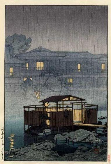 Hasui Kawase 1933 - Pluie aux bains Shuzenji