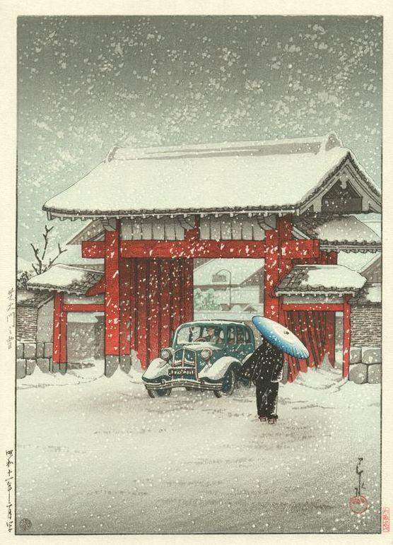 Hasui Kawase 1936 - Neige à Shiba Daimon