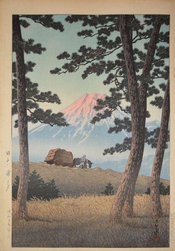 Hasui Kawase 1940 - Evening at Tagonoura - Soir à Tagonoura - Editeur Watanabe -Estampe japonaise