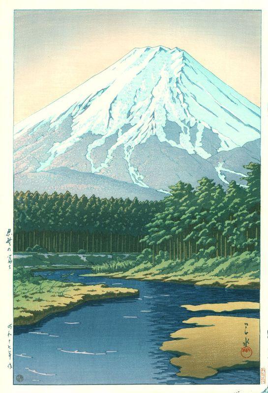 Hasui Kawase 1942 - Mont Fuji vu de Oshino