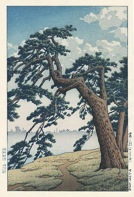 Hasui kawase 1932 - Matin brumeux a Yotsuya Mitsuke - Editeur Doi Estampe japonaise shin hanga