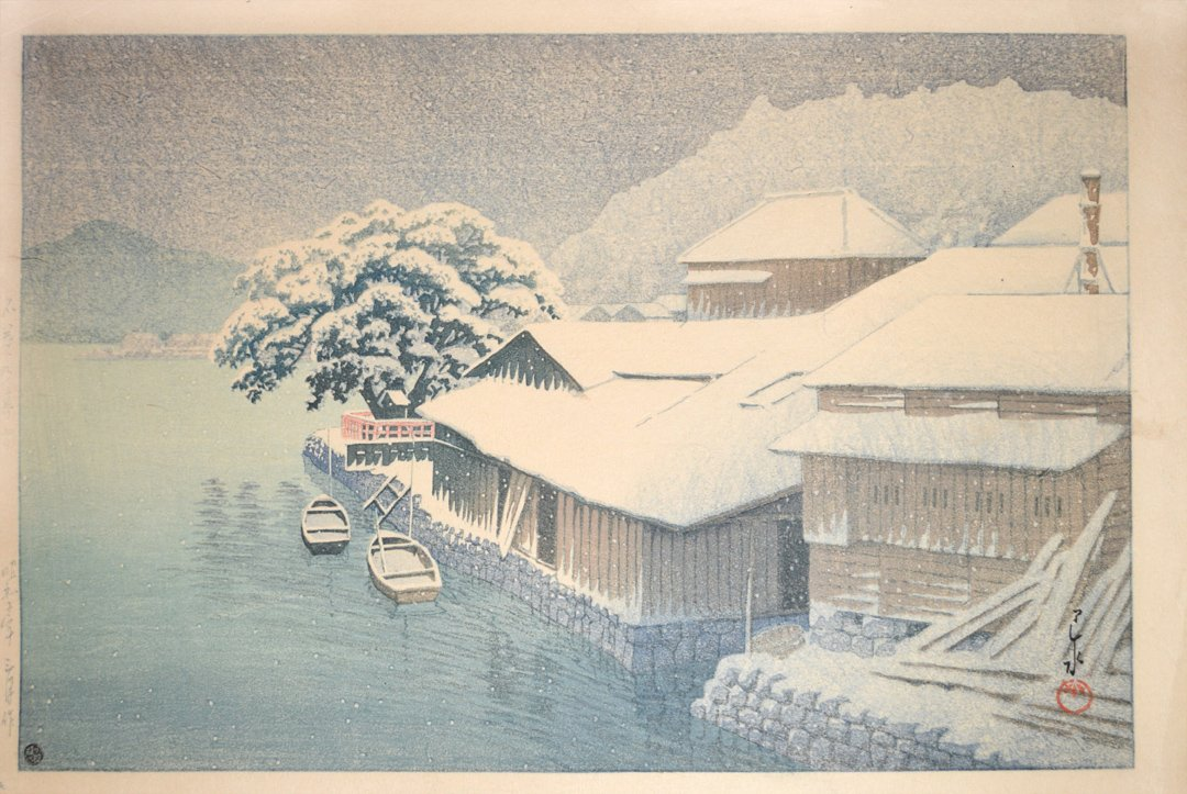 Hasui kawase 1933 Soir de neige a Ishinomaki Editeur watanabe Tirage de 1946-1957 Sceau 6 mm
