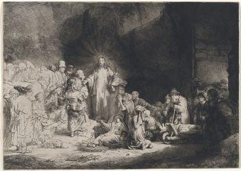 L'estampe la plus célèbre de Rembrandt « le christ soignant les malades », 1649, dite « la gravure aux 100 florins ».