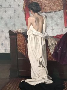 Félix VALLOTTON – Suisse – Nu vu de dos dans un intérieur - 1902 –Sans doute Gabrielle son modèle favori – Rappelle les intérieurs peints par les Nabi saturés de motifs - Kunsthalle Bremen (Allemagne)