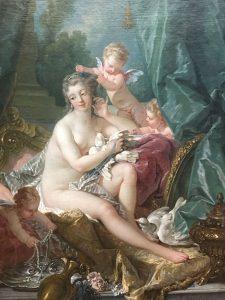 François BOUCHER – Suisse - La Toilette de Venus - 1751 – Peint pour, sa commanditaire principale, Mme de Pompadour, maitresse de Louis XIV pour son Château de Bellevue – Le top du style rococo - MET de New York