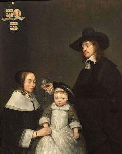Gerard TER BORCH le jeune – Néerlandais – La famille Moerkerken - 1653-1654 – Une innovation : la femme est placée à gauche, qui est traditionnellement le côté mâle donc dominant – MET de New York
