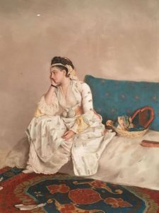 Jean Etienne LIOTARD – Suisse – Femme en robe turque, assise sur un sofa – 1752 – Pastel et craie rouge sur parchemin – Dessinée lors du séjour de 4 ans du peintre à Constantinople – MET de New York