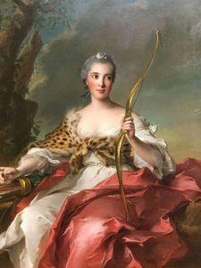 Jean-Marc NATTIER – Français - Madame Bergeret de Frouville en Diane, déesse de la chasse – 1756 – Ce portrait répond au goût de l'époque chez la noblesse, être représenté en personnage mythologique - MET de New York