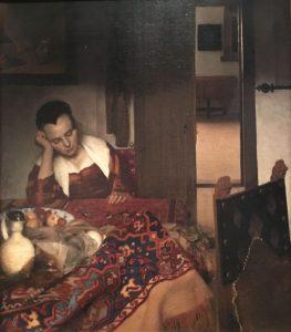 Johannes VERMEER – Néerlandais - La servante endormie – 1656-57 – Les servantes laissées sans surveillance se conduisent mal. C'est un sujet récurrent dans la peinture hollandaise du XVIIème siècle. La jeune femme s'est endormie après avoir bu un verre de vin. Cette scène est un prétexte pour travailler la lumière, la couleur et les textures – MET de New York